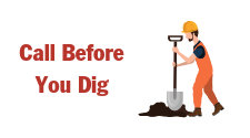 """graphic that says, """"Call Before You Dig"""" and has a construction worker with a shovel. It is used on the site to as a click through button in the footer of the website to take you to the instructions to call Tri-County Electric before you start a new construction or rennovation project of any kind."""