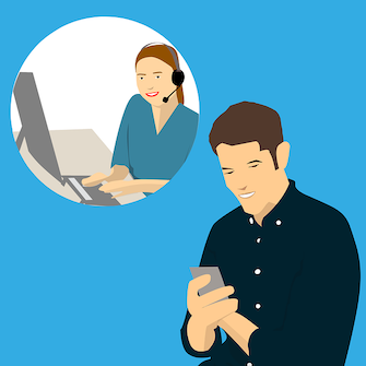 This is a graphic which shows a man on a cell phone and a woman with a phone headset on sitting in front of an open laptop. It is used on this site to illustrate Complaint resolution.