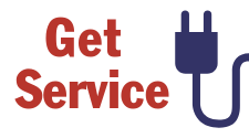 """This is an icon that says, """"Get Service"""" and shows a two prong plug. It serves as a hotlink button to click you through to the application for new service with Tri-County Electric."""